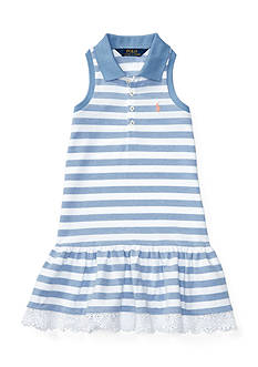 Ralph Lauren Childrenswear Stretch Striped Sleeveless Polo Dress Girls 4-6x