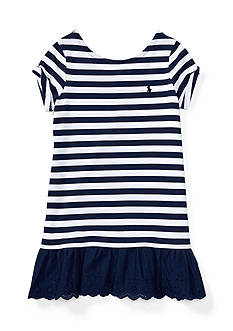Ralph Lauren Childrenswear Cotton Stripe To Eyelet Dress Girls 4-6x