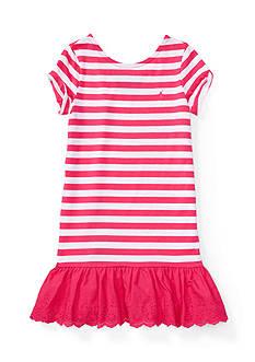 Ralph Lauren Childrenswear Cotton Stripe to Eyelet Dress Girls 4-6x