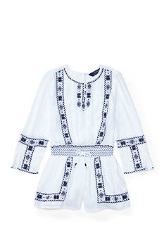 Ralph Lauren Childrenswear Embroidered Boho Romper Girls 4-6x