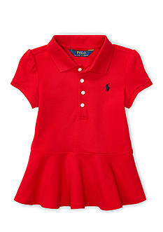 Ralph Lauren Childrenswear Stretch Mesh Peplum Polo Shirt Girls 4-6x