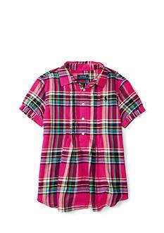 Ralph Lauren Childrenswear Featherweight Twill Plaid Shirt Girls 7-16