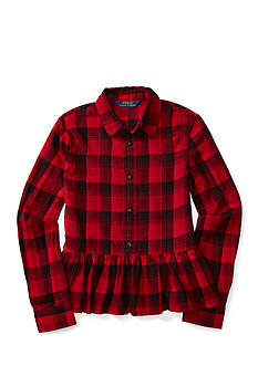 Ralph Lauren Childrenswear Plaid Cotton Peplum Top Girls 7-16