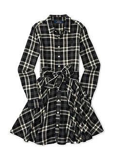 Ralph Lauren Childrenswear Plaid Flannel Shirt Dress Girls 7-16