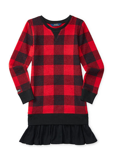 Ralph Lauren Childrenswear Plaid Ruffled-Hem Fleece Dress Girls 7-16