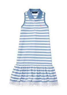 Ralph Lauren Childrenswear Stretch Striped Sleeveless Polo Dress Girls 7-16
