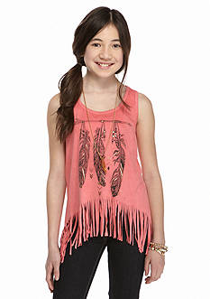 Beautees Faux Suede Fringe Necklace Tank Girls 7-16