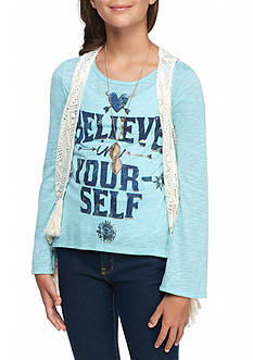 Beautees Believe Top and Crochet Vest 2-Piece Set with Necklace Girls 7-16