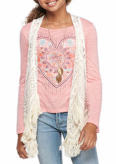 Beautees Heart Top and Crochet Vest with Necklace 2-Piece Set Girls 7-16