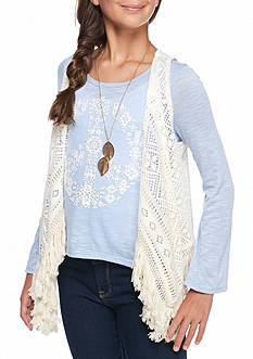Beautees Peace Top with Crochet Vest and Necklace Girls 7-16