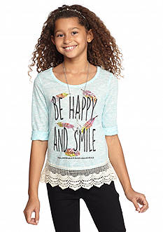 Beautees High Low Lace Printed Top Girls 7-16