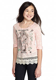 Beautees High Low Lace Horse Printed Top Girls 7-16