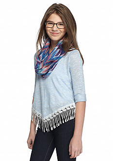Beautees Three-Quarter Sleeve Lace Fringe Top and Scarf Girls 7-16