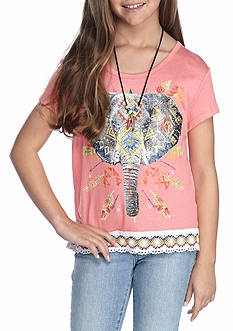 Beautees Elephant Crochet Top With Necklace Girls 7-16