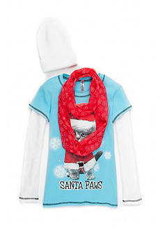 Beautees Santa Paws Top with Scarf and Hat 3-Piece Set Girls 7-16