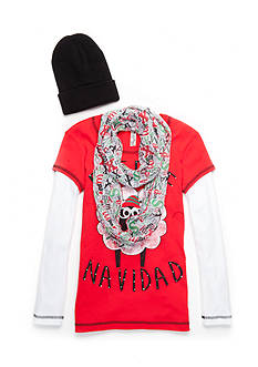 Beautees Fleece Navidad Sheep Top with Hat and Scarf 3-Piece Set Girls 7-16