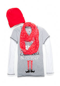 Beautees Elf Top with Hat and Scarf 3-Piece Set Girls 7-16