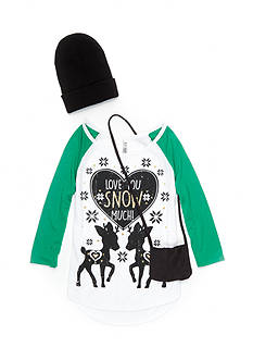 Beautees Snow Deer Love Top with Hat and Crossbody Pouch 3-Piece Set Girls 7-16
