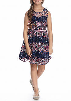 Beautees Striped Lace Dress Girls 7-16