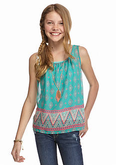 Beautees Split Back Chiffon Necklace Tank Girls 7-16
