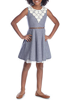 Beautees Chambray Crochet Belted Dress Girls 7-16