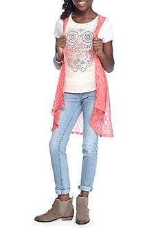 Beautees Graphic Tee with Vest Set Girls 7-16