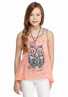 Beautees Tribal Owl 'Always The Dreamer' Braided Tank Top Girls 7-16