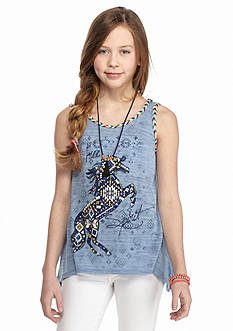 Beautees Tribal Horse 'Free Spirit' Braided Tank Top Girls 7-16