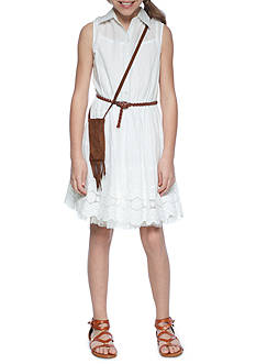 Beautees Eyelet Shirt Dress with Purse Girls 7-16