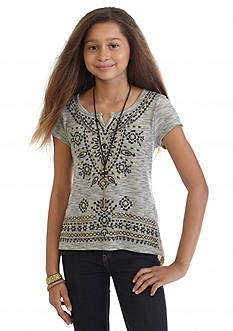 Beautees Embellished Crochet Back Top Girls 7-16