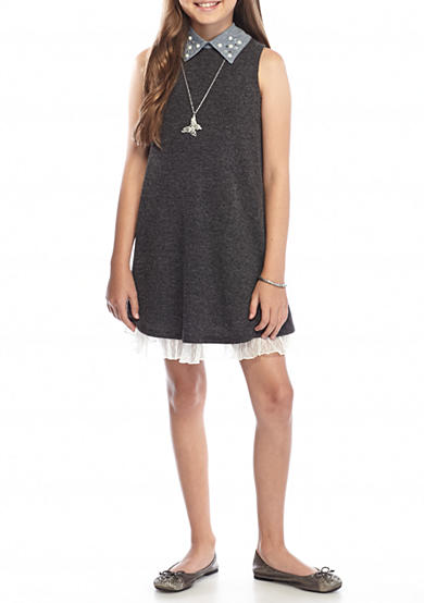 Beautees Solid Lace Swing Dress Girls 7-16