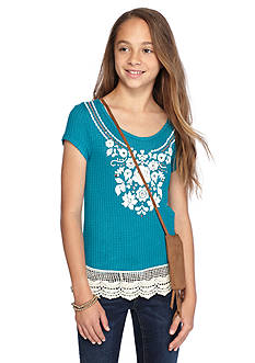 Beautees Short Sleeve Crochet Trim Top & Bag Girls 7-16