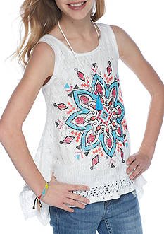 Beautees Medallion Crochet Tank Girls with Necklace 7-16