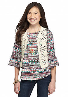 Beautees 2-Piece Printed Peasant Top and Crochet Vest Set Girls 7-16