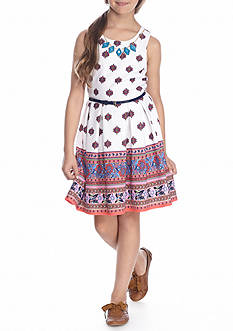 Beautees Border Print Skater Dress Girls 7-16