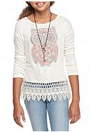 Beautees Owl Crochet Top with Necklace Girls 7-16