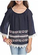 Beautees Cold Shoulder Solid Tribal Border Top