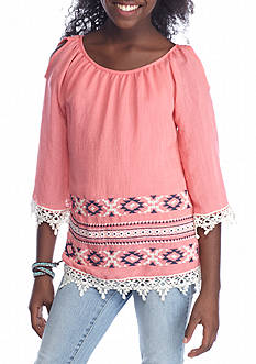 Beautees Cold Shoulder Solid Tribal Border Top Girls 7-16