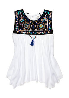 Beautees White Embroidered Tank Girls 7-16 With Necklace