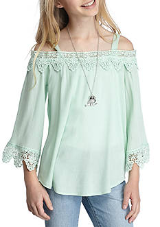 Beautees Lace Cold Shoulder Top Girls 7-16
