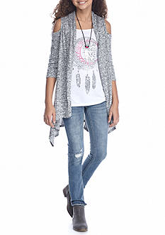 Beautees 2-Piece Cold Shoulder Cardigan And Graphic Tee Set Girls 7-16