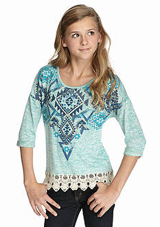 Beautees Lace Trim Tribal Print Top Girls 7-16