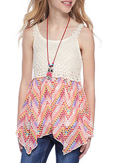 Beautees Crochet and Chiffon Tank Top Girls 7-16