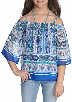 Beautees Paisley Cold Shoulder Peasant Top girls 7-16