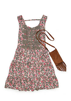 Beautees Floral Babydoll Dress with Purse Girls 7-16