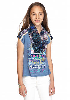Beautees 2Fer 'Happy Thoughts' Peace Top & Scarf Girls 7-16