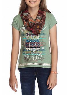 Beautees Printed Owl Split Back Top Girls 7-16