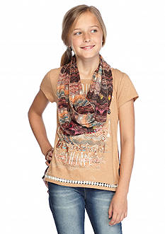 Beautees 2-Fer Horse Top & Scarf Girls 7-16