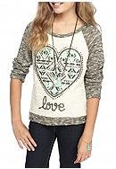 Beautees Heart Embroidery Top with Necklace Girls