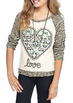 Beautees Heart Embroidery Top with Necklace Girls 7-16